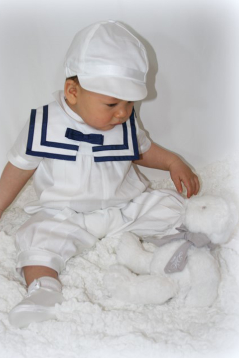 Christening-romper-Boys-Nautical-and-cap-white-with-navy-blue-trimmings-SaferBaby-Italian-Made