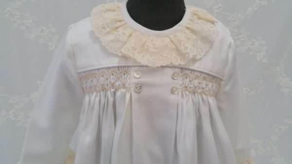 girls dress smocking winter lace European couture children