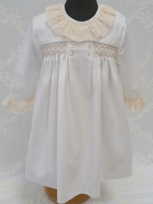 girls dress smocking winter lace European couture children