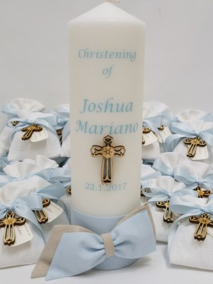 christening-baptism-romper-boys-blue-candle-towel-booties-bomboniere