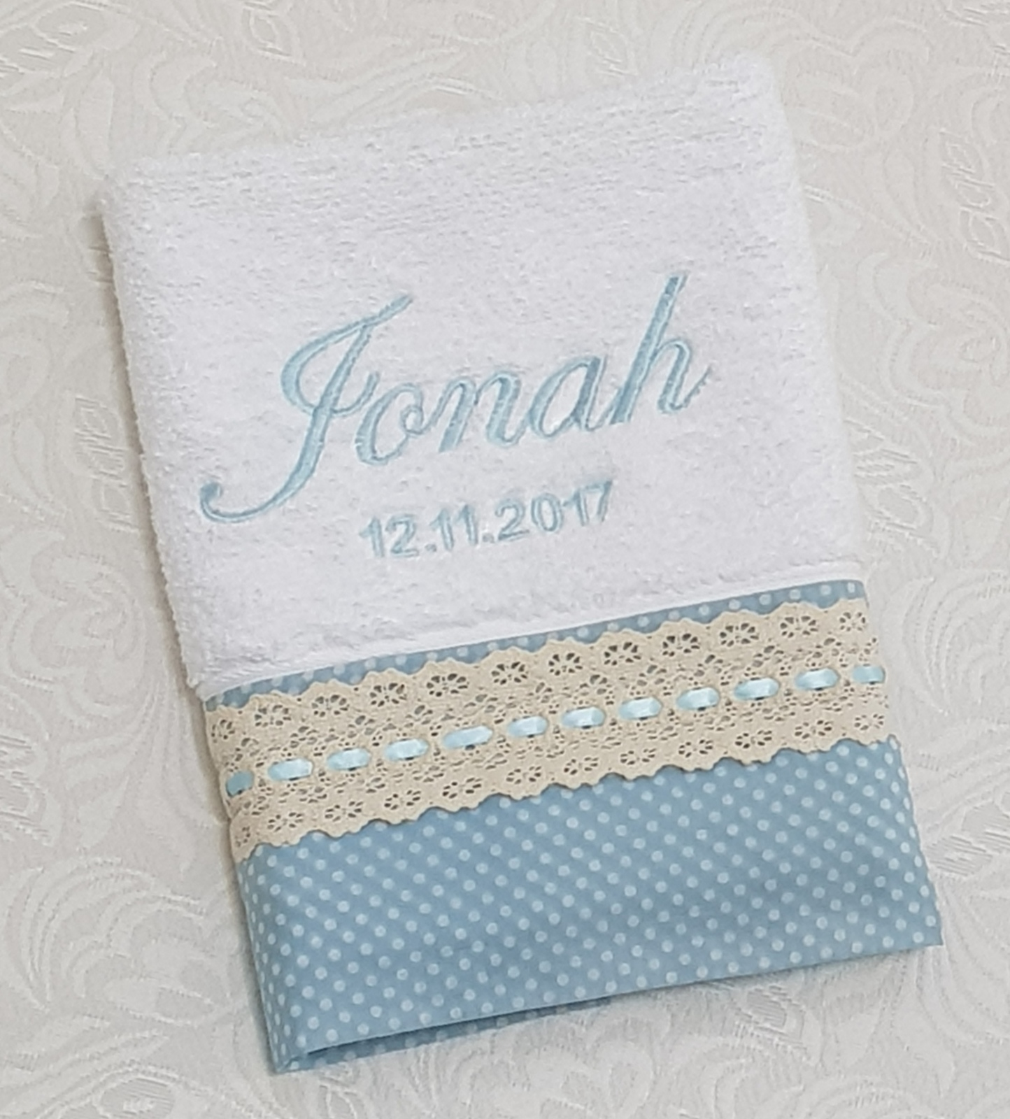 White Christening Towel Personalised Name And Date In