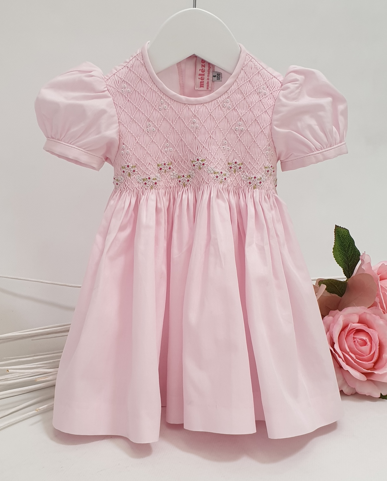 Baby Pink Hand Smock and Embroidery Dress